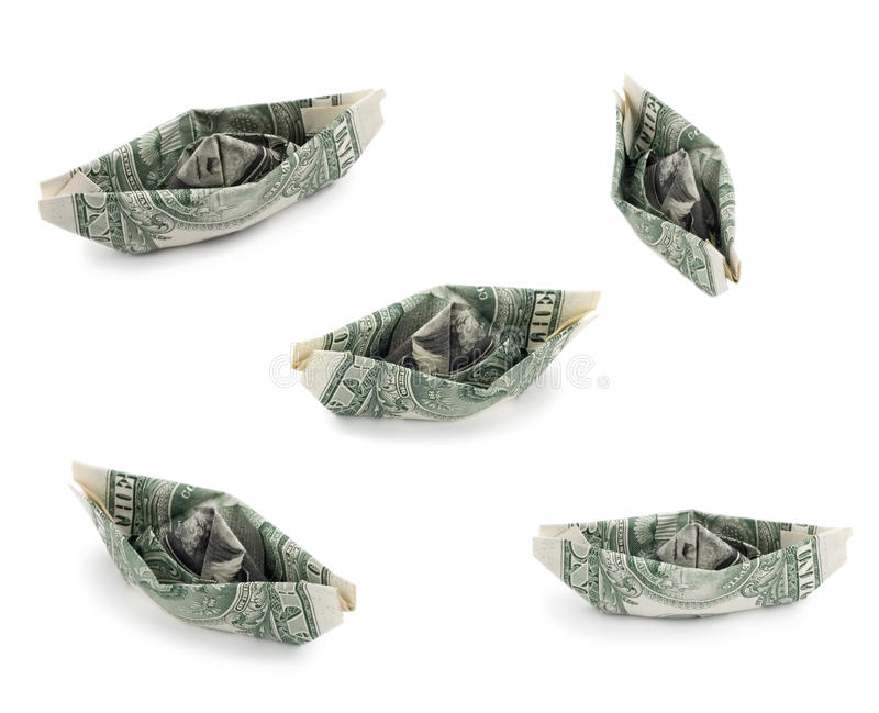 US nave from a dollar money. Isolated on white background stock photography