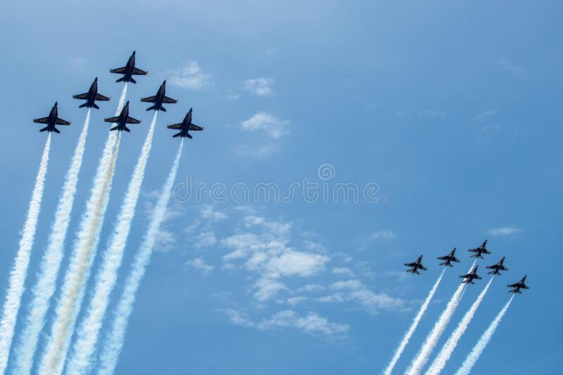 US Navy Blue Angels and US Air Force Thunderbirds Fly Over the National Mall, Washington DC, USA royalty free stock photo