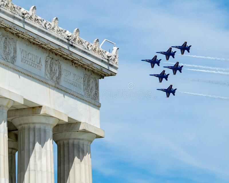 US Navy Blue Angels and US Air Force Thunderbirds Fly Over the National Mall, Washington DC, USA royalty free stock images