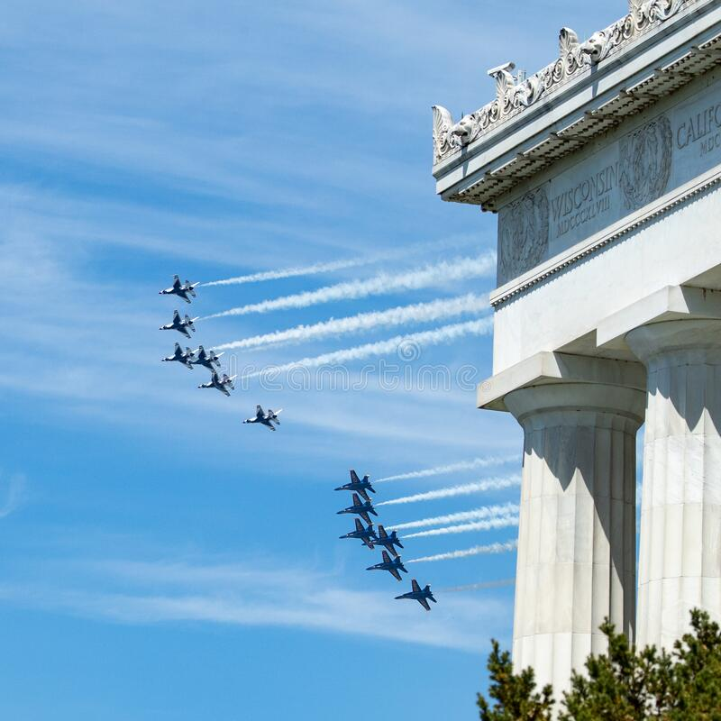 US Navy Blue Angels and US Air Force Thunderbirds Fly Over the National Mall, Washington DC, USA royalty free stock photography