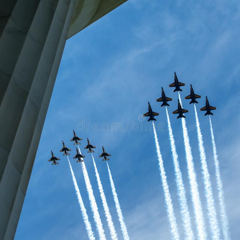 US Navy Blue Angels and US Air Force Thunderbirds Fly Over the National Mall, Washington DC, USA stock photography