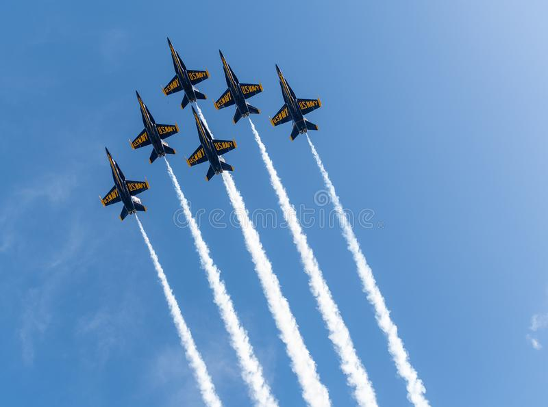 US Navy Blue Angels in formation ready to perform a flyby royalty free stock photography