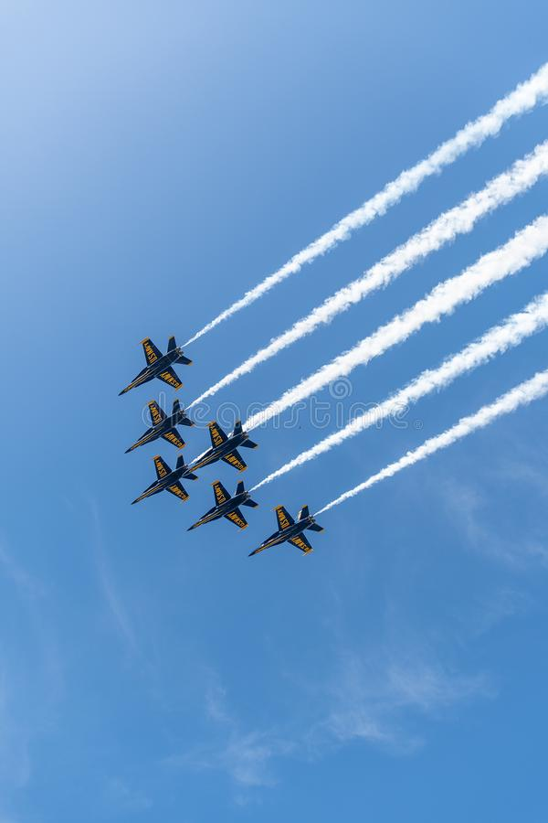 Free US Navy Blue Angels In Formation Ready To Perform A Flyby Stock Image - 147656591