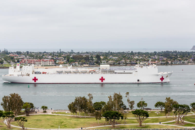 US Navy Mercy. United States Naval Ship Mercy sailing into San Diego Harbor stock photography
