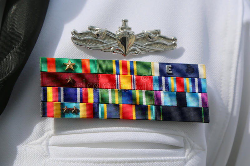 US Navy military ribbons on United States Navy Uniform. NEW YORK - MAY 28, 2017: US Navy military ribbons on United States Navy Uniform in New York stock photography