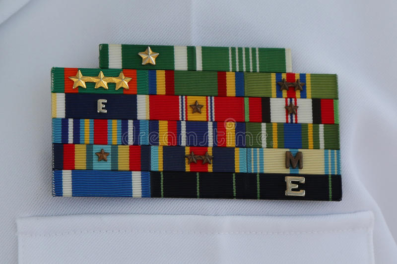 US Navy military ribbons on United States Navy Uniform. NEW YORK - MAY 28, 2017: US Navy military ribbons on United States Navy Uniform in New York stock photos