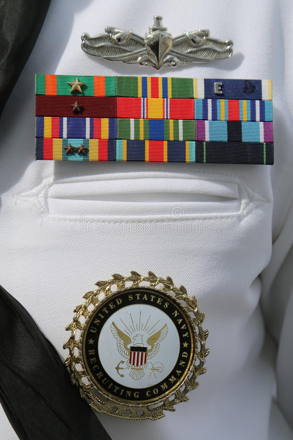 US Navy military ribbons on United States Navy Uniform. NEW YORK - MAY 28, 2017: US Navy military ribbons on United States Navy Uniform in New York royalty free stock photos