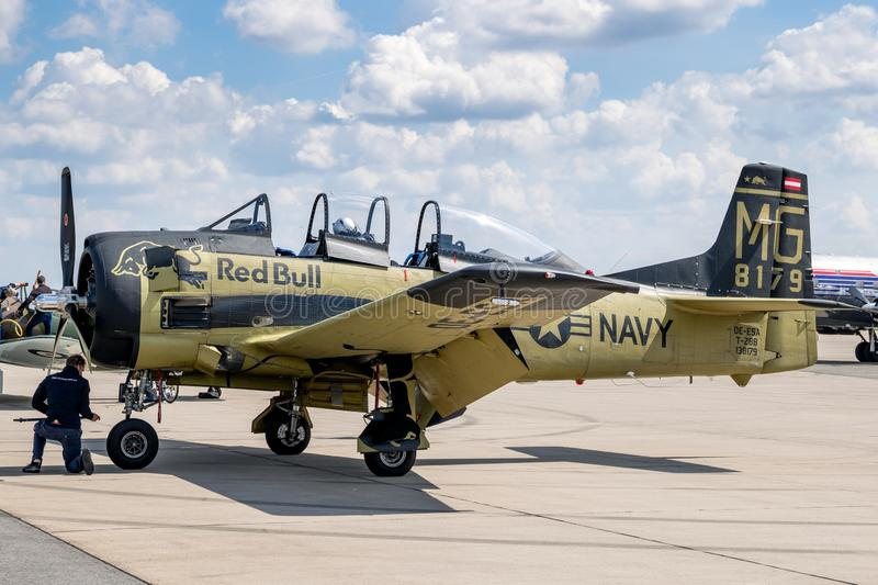 US Navy North American T-28 Trojan plane. BERLIN, GERMANY - APR 27, 2018: Vintage former US Navy North American T-28 Trojan plane from The Flying Bulls on the royalty free stock photography