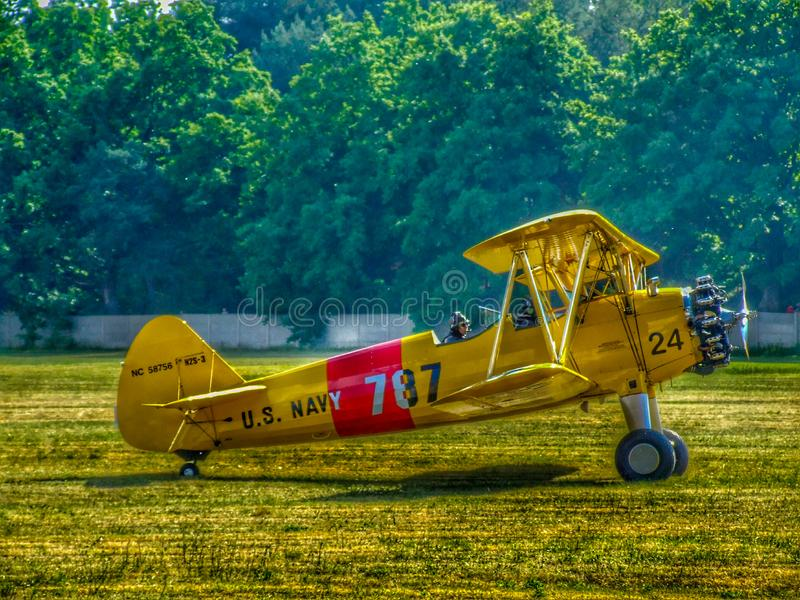 US Navy/Quax Boeing A75-N1/N2S-3 Stearman PT-17 biplane aircraft. stock photo