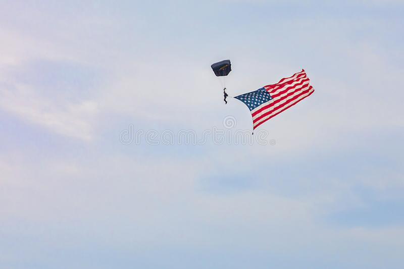 US Navy Skydiver With American Flag stock image