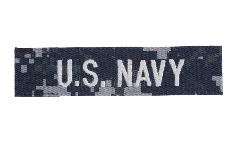 US NAVY uniform badge. Isolated on white stock photo