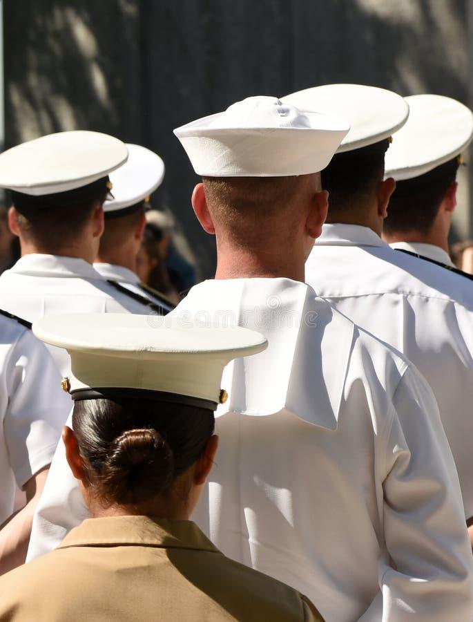 US Navy-zeelieden van de rug US Navy-leger royalty-vrije stock afbeelding