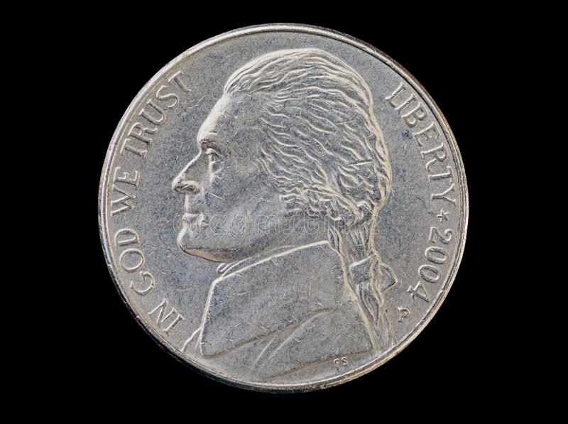 US Nickel Coin Head stock image