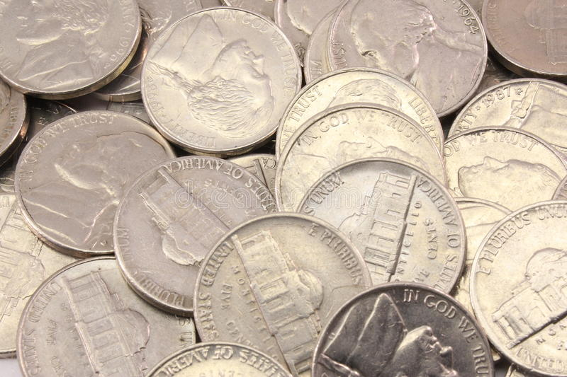 US Nickels Background royalty free stock photo