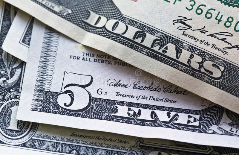 Download US Notes Focus On Five Dollars Stock Photo - Image: 11037328