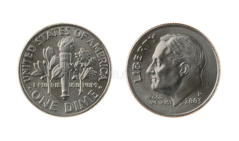 US One Dime Coin Isolated on White. US one dime coin (ten cents) isolated on white ? obverse and reverse