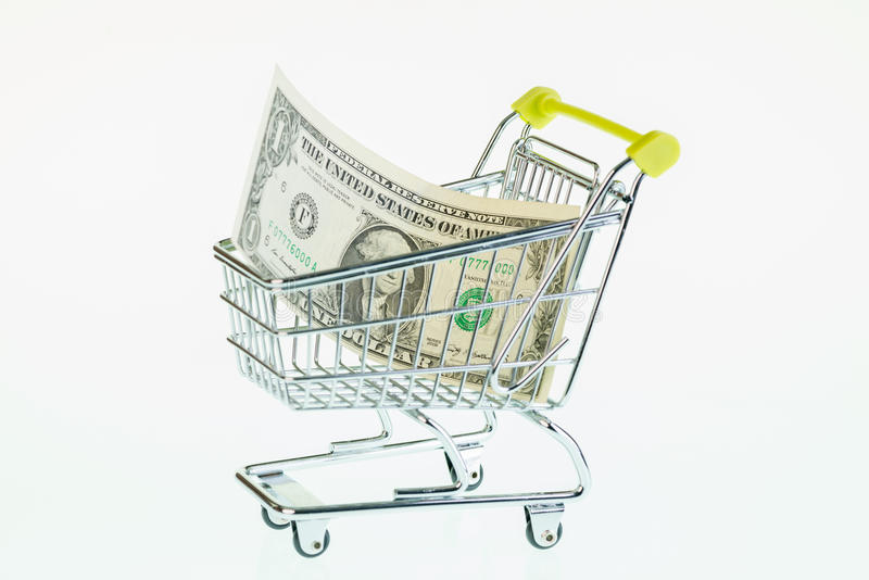 Download US One Dollar Bill In Shopping Cart Stock Image - Image: 33636883