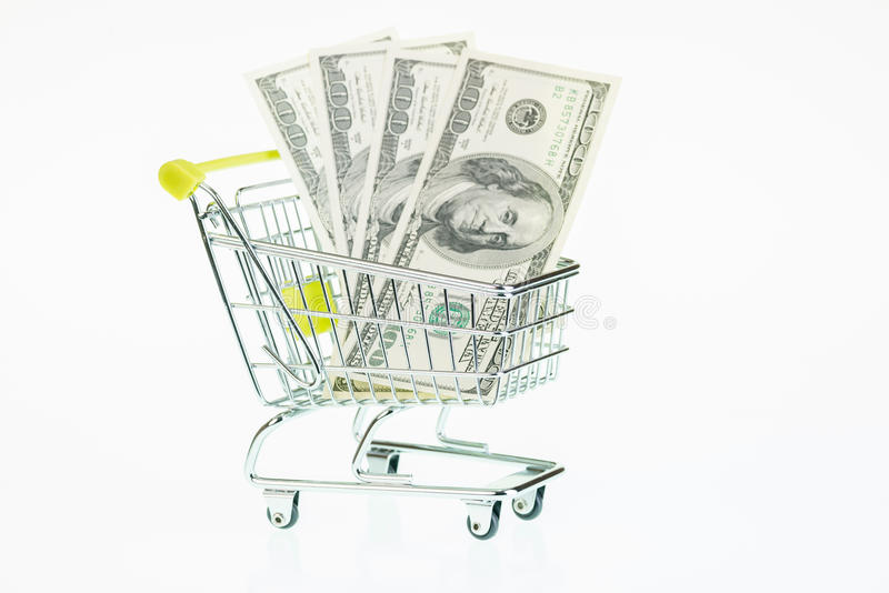 Download US One Hundred Dollar Bills In Shopping Cart Stock Image - Image: 33636921