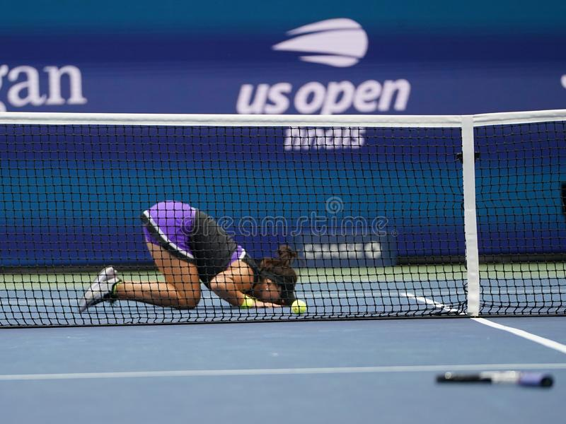 2019 US Open champion Bianca Andreescu of Canada celebrates winning her final match over Serena Williams. NEW YORK - SEPTEMBER 7, 2019: 2019 US Open champion stock image