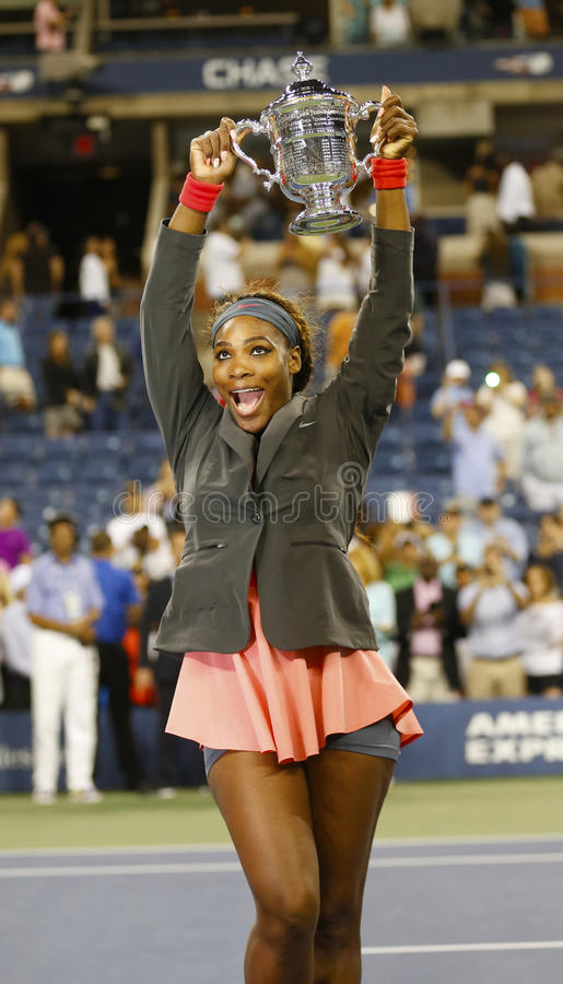 US Open 2013 champion Serena Williams holding US Open trophy after her final match win  against Victoria Azarenka