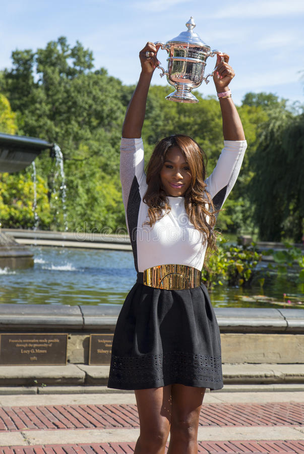 US Open 2013 Champion Serena Williams Posing US Open Trophy In Central Park Editorial Stock Photo
