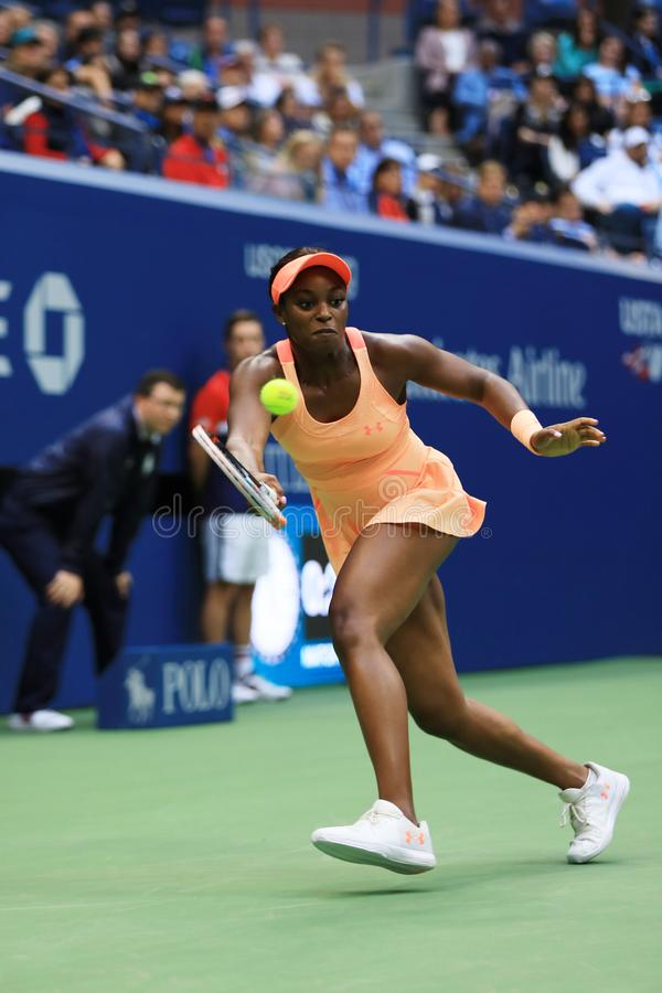 US Open 2017 champion Sloane Stephens of United States in action during her final match against Madison Keys. NEW YORK - SEPTEMBER 10, 2017: US Open 2017 stock photo