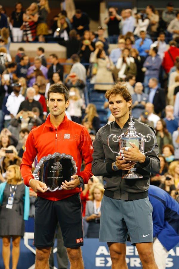 US Open 2013 mistrz Rafael Nadal i finalista Novak Djokovic podczas trofeum prezentaci po definitywnego dopasowania obrazy royalty free