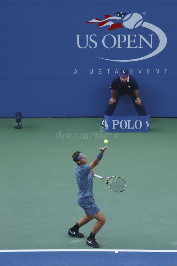 US Open 2013 mistrz Rafael Nadal podczas definitywnego dopasowania przeciw Novak Djokovic zdjęcie stock