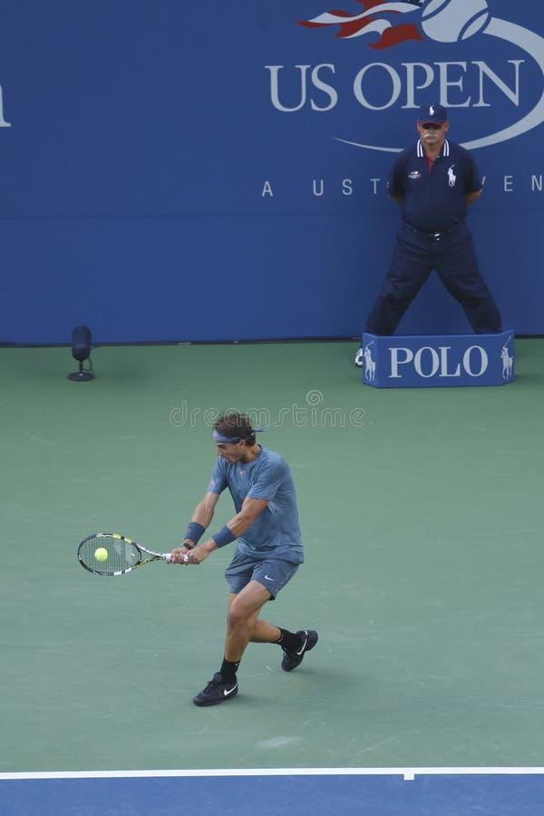 US Open 2013 mistrz Rafael Nadal podczas definitywnego dopasowania przeciw Novak Djokovic fotografia royalty free