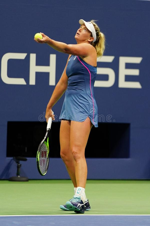 2018 US Open women`s doubles champion CoCo Vandeweghe of United States in action during her final match. NEW YORK - SEPTEMBER 9, 2018: 2018 US Open women`s stock photos