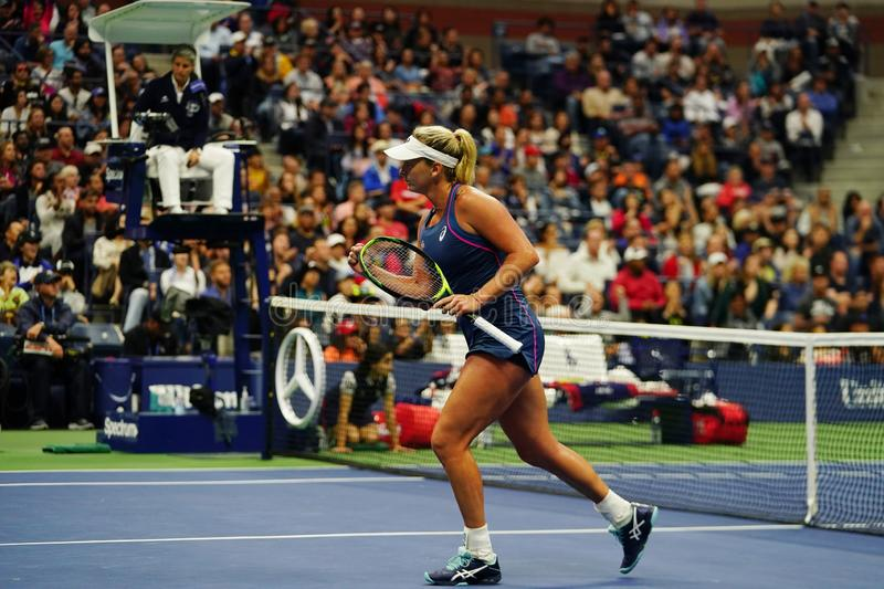 2018 US Open women`s doubles champion CoCo Vandeweghe of United States in action during her final match. NEW YORK - SEPTEMBER 9, 2018: 2018 US Open women`s royalty free stock image