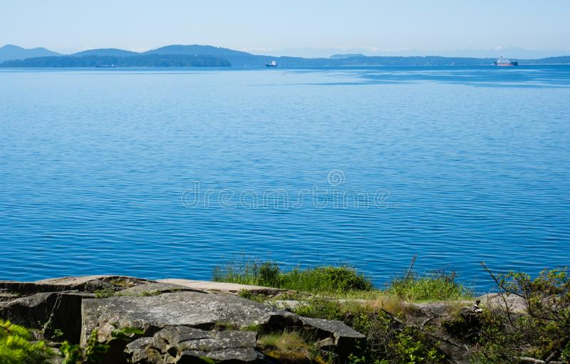 Pacific coastline in Washington state, USA. US Pacific coast - view of the ocean and islands from Larrabee state park, WA royalty free stock photography