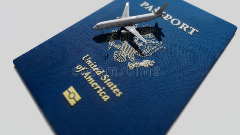 US passport with airplane royalty free stock photo