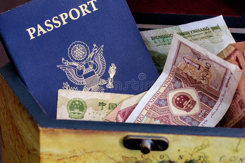 Download US Passport With Chinese Currency In Wood Box Stock Image - Image: 25059381
