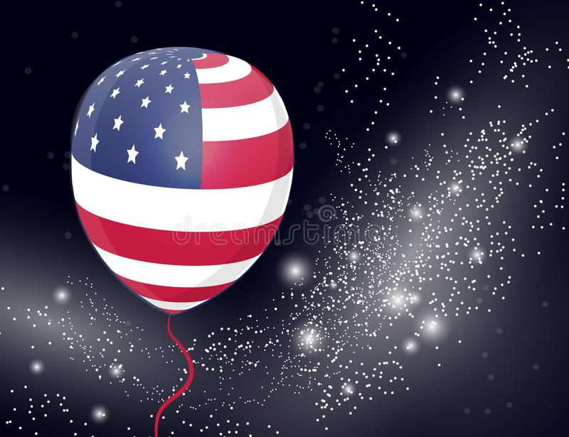 US Patriotic balloon on sparkling background. Colored Balloons specially for the Fourth of July. Memorial Day. Martin Luther King. Day. Country National Colors royalty free illustration
