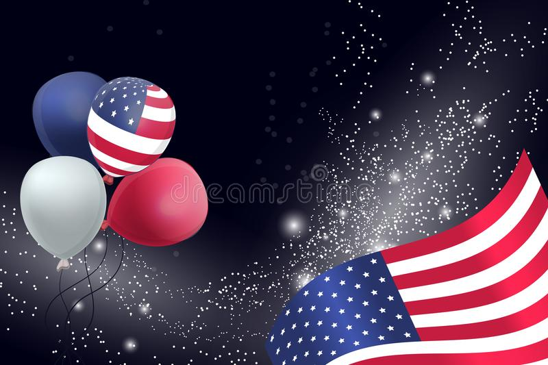 US Patriotic balloons and flag specially for the Fourth of July. Memorial Day. Martin Luther King Day. Country National Colors royalty free illustration