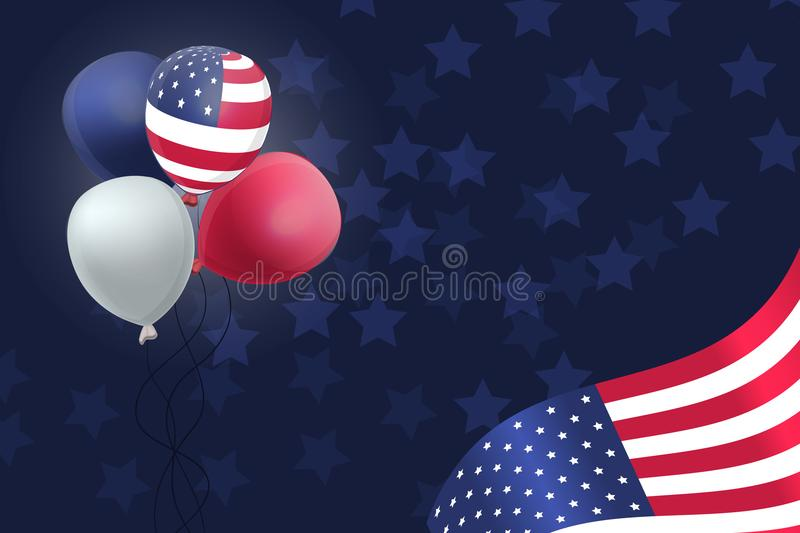 US Patriotic balloons and flag specially for the Fourth of July. Memorial Day. Martin Luther King Day. Country National Colors stock illustration