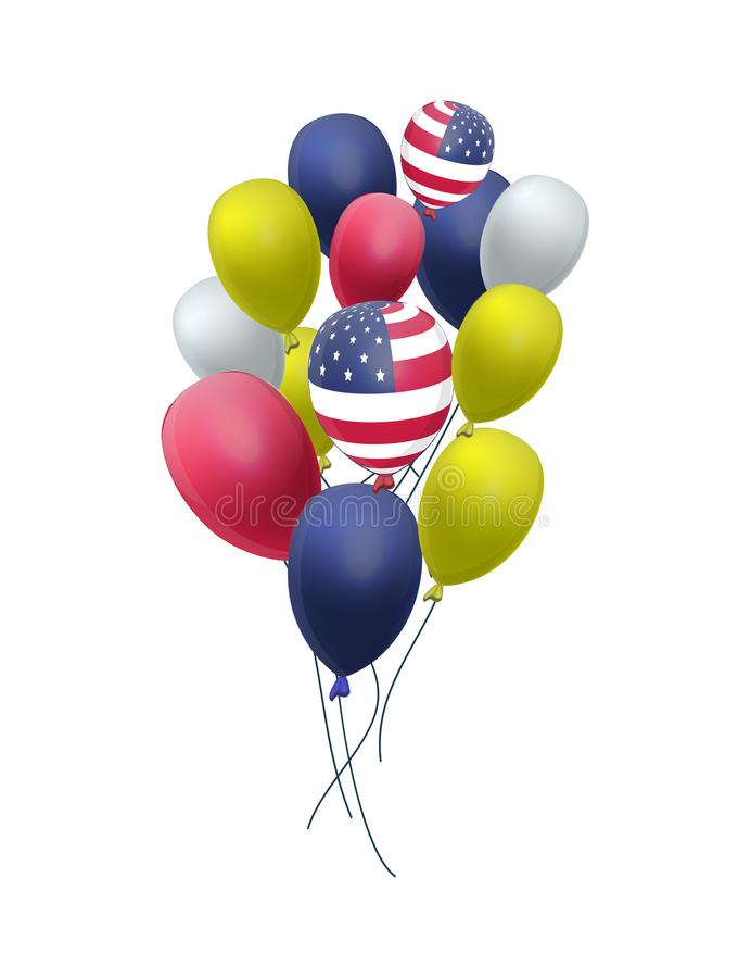 US Patriotic balloons isolated on white background for the Fourth of July. Memorial Day. Martin Luther King Day. Country National Colors vector illustration