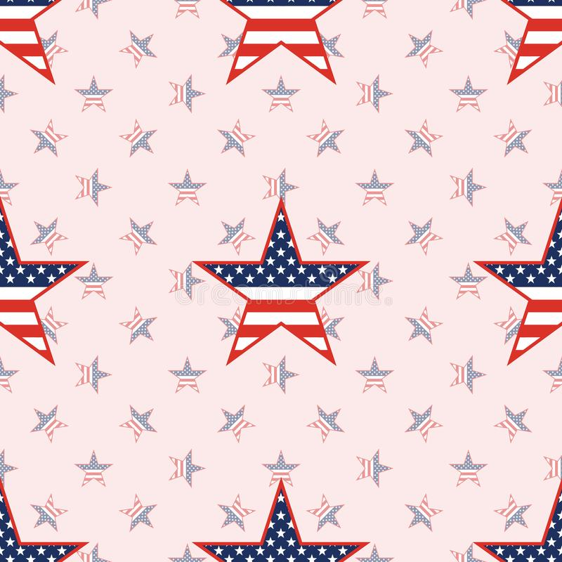 US patriotic stars seamless pattern on national. US patriotic stars seamless pattern on national stars background. American patriotic wallpaper with US stock illustration