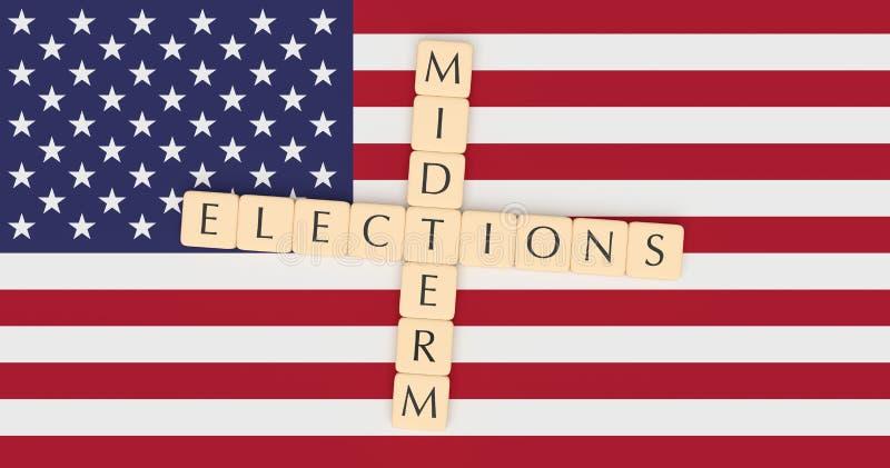 US Politics News Concept: Letter Tiles Midterm Elections On USA Flag. 3d illustration royalty free illustration