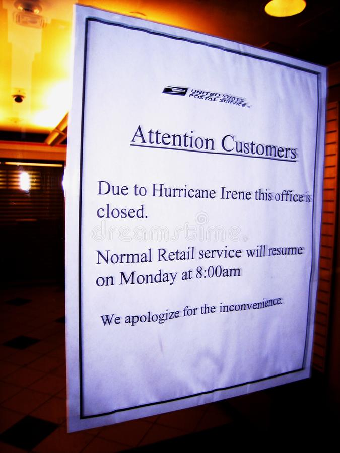 US Post Office shut for hurricane irene. A Post office in New York City closed because of Hurricane Irene 08/27/11 stock photos