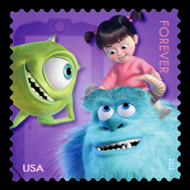 US - Postage Stamp. UNITED STATES OF AMERICA - CIRCA 2012: forever stamp printed in USA US shows 3 characters from movie Monsters; blue Sulley, green one eyed stock photo