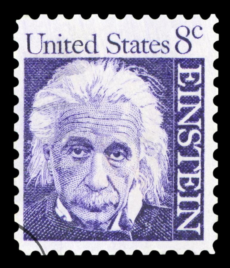 US - Postage Stamp. UNITED STATES OF AMERICA - CIRCA 1965: A postage stamp with a portrait of famous physicist Albert Einstein 1879-1955, commemorating the 10th royalty free stock images