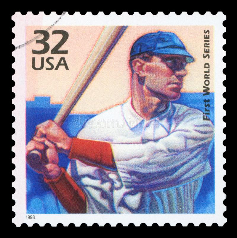 US - Postage Stamp. UNITED STATES OF AMERICA - CIRCA 1998:A postage stamp printed in USA showing an image a baseball player in the first world series, circa 1998 stock images