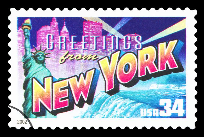 US - Postage Stamp. UNITED STATES OF AMERICA – CIRCA 2002: A postage stamp printed in USA showing an image of New York state, circa 2002.  Isolated on royalty free stock photo