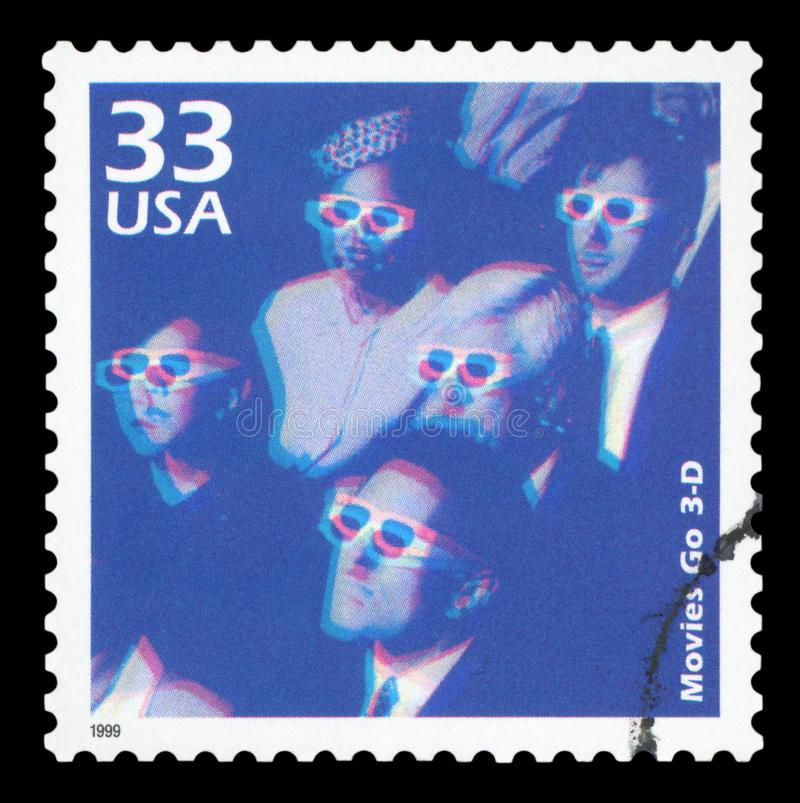 US - Postage Stamp. UNITED STATES OF AMERICA, CIRCA 1999: a postage stamp printed in USA showing an image of people watching a 3D movie, circa 1999 stock photography