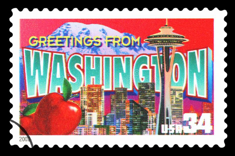 US - Postage Stamp. UNITED STATES OF AMERICA - CIRCA 2002: a postage stamp printed in USA showing an image of the Washington state, circa 2002.  Isolated on stock photos