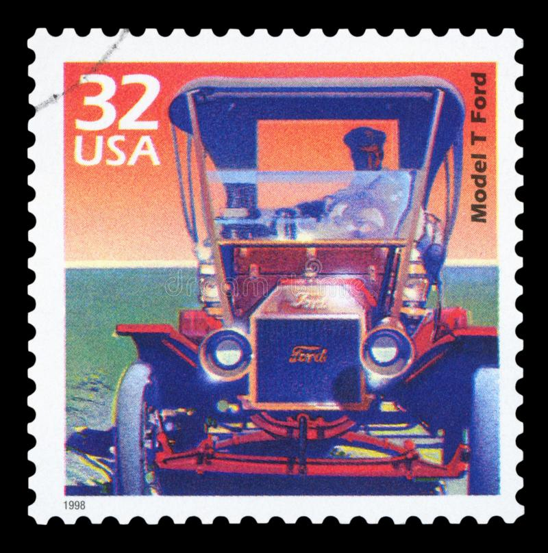 US - Postage Stamp. UNITED STATES OF AMERICA - CIRCA 1998: Stamp printed in USA dedicated to celebrate the century 1900s, shows Model T Ford , CIRCA 1998 stock images