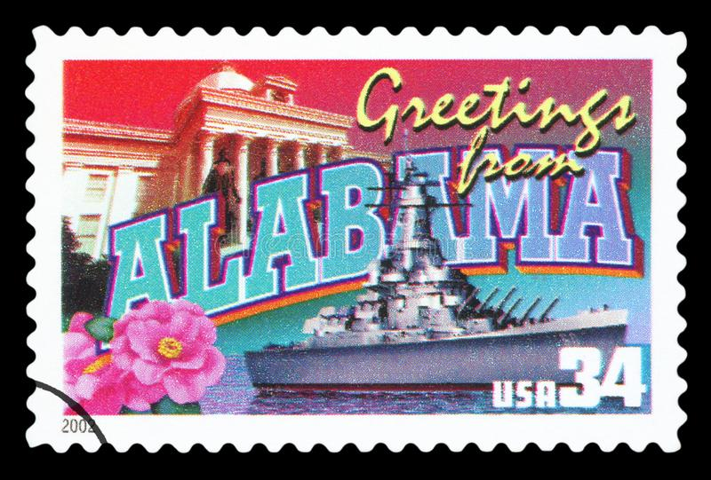 US - Postage Stamp. UNITED STATES OF AMERICA - CIRCA 2002: a postage stamp printed in USA showing an image of the Alabama state, circa 2002 stock photography
