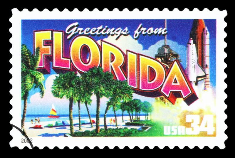 US - Postage Stamp. UNITED STATES OF AMERICA - CIRCA 2002: a postage stamp printed in USA showing an image of the Florida state, circa 2002 stock photography